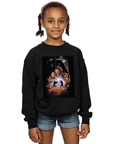Star Wars Niñas Episode III Movie Poster Camisa De Entrenamiento Negro 5-6 Years