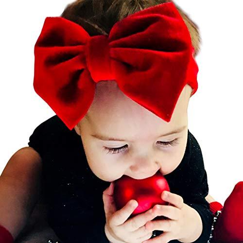 Bandeau pour cheveux bébé (3 à 18 mois) - Bandeau en velours doux avec nœud rouge