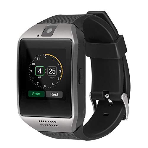 UKCOCOQ18 Smart Armbanduhr Bluetooth Smartwatch Telefon mit Kamera TF/SIM-Kartensteckplatz GSM Anti-verlor für Android (schwarz)