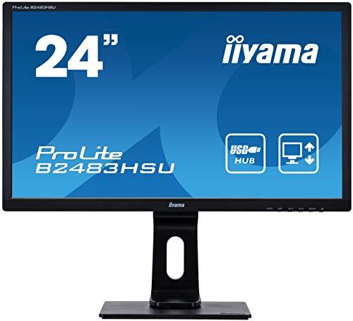 iiyama ProLite B2483HSU-B1DP 61cm (24Zoll) LED-Monitor Full-HD (VGA, DVI, DisplayPort, USB, Höhenverstellung, Pivot) schwarz