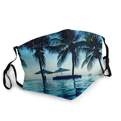 SDBUYW-ZQ Wiederverwendbare Unisex-Gesichtsbedeckung,Luxus-Swimmingpool-Strand an der tropischen Küste White Beach Umbrellas Sunbeds And Palm Trees Sea,Staubmundverstellbare Ohrschlaufen Filter