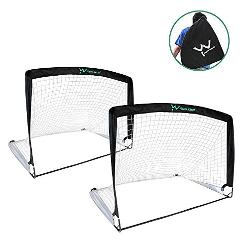 Youth Value Portable Soccer Goals, Instant Set-Up, Easy Fold-Up, 4'x3'x3', Set of 2 Soccer Goal Nets, Double Color Design