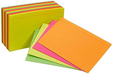 Amazon Basics Ruled Index Flash Cards, Assorted Neon Colored, 4x6 Inch, 300-Count - AMZ99755