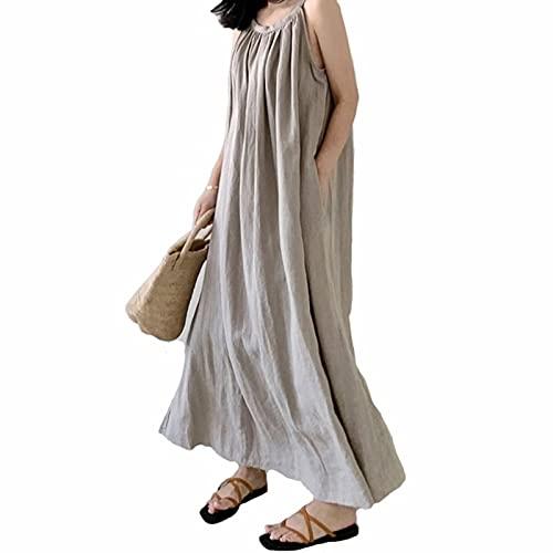 Damska sukienka lniana Lato Bez Rękawów Plisowana bawełniana Tunika Długie Sukienki Maxi Letnie ubrania na co dzień (Color : Khaki, Size : One Size)