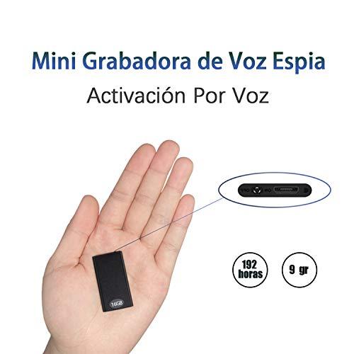 Mini espía grabadora de Voz H+Y con activación por Voz, Memoria de 16 GB, Recargable por USB y Funciones MP3, Ideal para Clases, reuniones, entrevistas, hasta 192 Horas