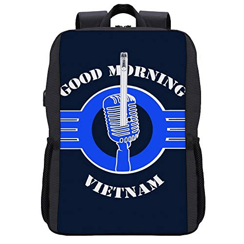 Good Morning Vietnam - Mochila con cita de película para portátil con puerto de carga USB