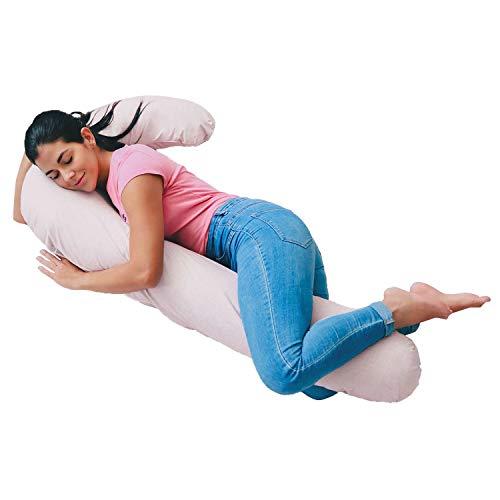 Almohada de maternidad para dormir, corporales para embarazadas, forma de bastón, cuerpo completo tipo herradura para soporte, funda desmontable - 100% Algodón - Ros