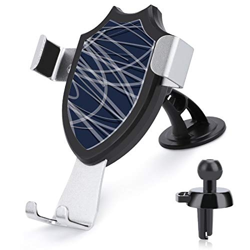 Soporte de ventilación para coche con manos libres, azul marino, gris y blanco, cintas abstractas compatibles con iPhone 12/12 Pro/11 Pro Max/8 Plus y más teléfonos móviles de 4 a 6 pulgadas