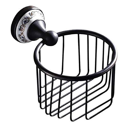 XY Panier de Serviette en Papier européen chromé Panier de Toilette Boîte de mouchoirs Noir Panier de Support de Papier à Mains en Rouleau, Style rétro bac à Papier en cuivre, Noir,Noir