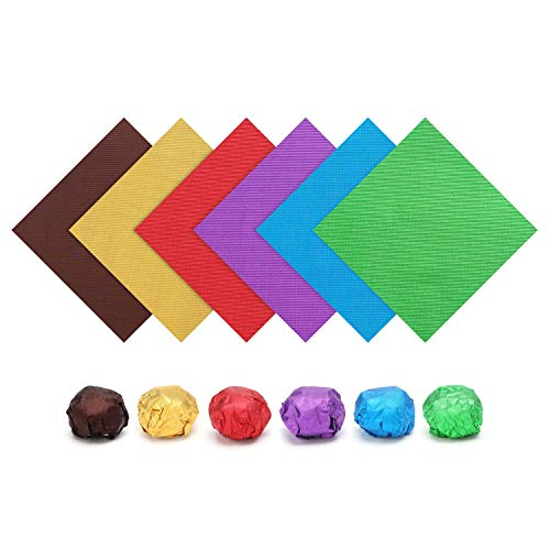 Aluminum Foil Wrappers, Eusoar 600pcs Textured Assorted Color Food Grade Aluminum Foils 6 Colors x 100pcs for Wrapping Homemade Candies Caramels Chocolate Balls Party Favors Holiday Treats