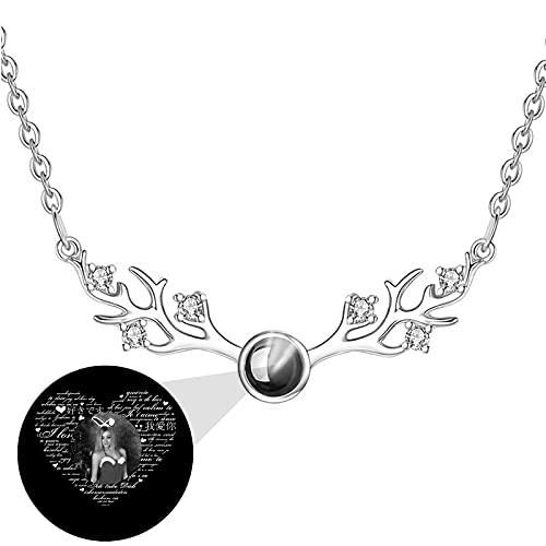 Collar de proyección Collar de foto personalizado Collar personalizado 100 Collares de idiomas TE QUIERO Collar Colgante de asta(Plata Blanco y negro 18)
