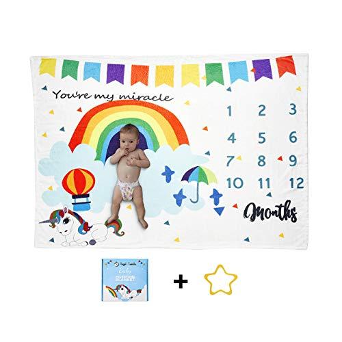 Angel Twinkle Rainbow Baby Milestone Blanket  100% Soft Flannel Fleece   Unicorn Design for Boy Girl  Perfect Sized Photo Backdrop  40 x 50 inches  Premium Free Star Wreath 