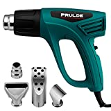 Heat Gun Dual Temperature Settings, PRULDE N2190 1500W Hot Air Gun 800°F - 1112°F, Overload Protection with 4 Metal Nozzle Attachments for Shrink Wrapping/Tubing, Paint Removal