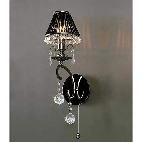 Diyas IL30911 Pescara - Lámpara de pared (cromo y cristal), color negro