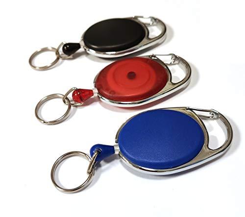 Waizmann.IDeaS® 1x Ausweisjojo BLAU Jojo Zipper oval mit Schlaufenclip Aufrollmechanismus & Ring