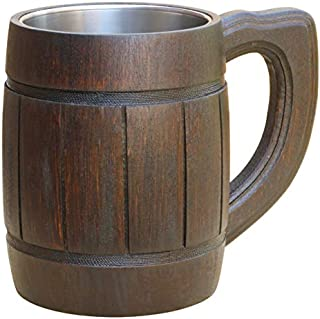 Beer Mug Wooden Handmade Retro Brown Color - Wood Carving Beer Mug of Wood Eco Friendly Great Gift Ideas Beer Mug for Men. Wooden Beer Tankard - Limited TIME Offer