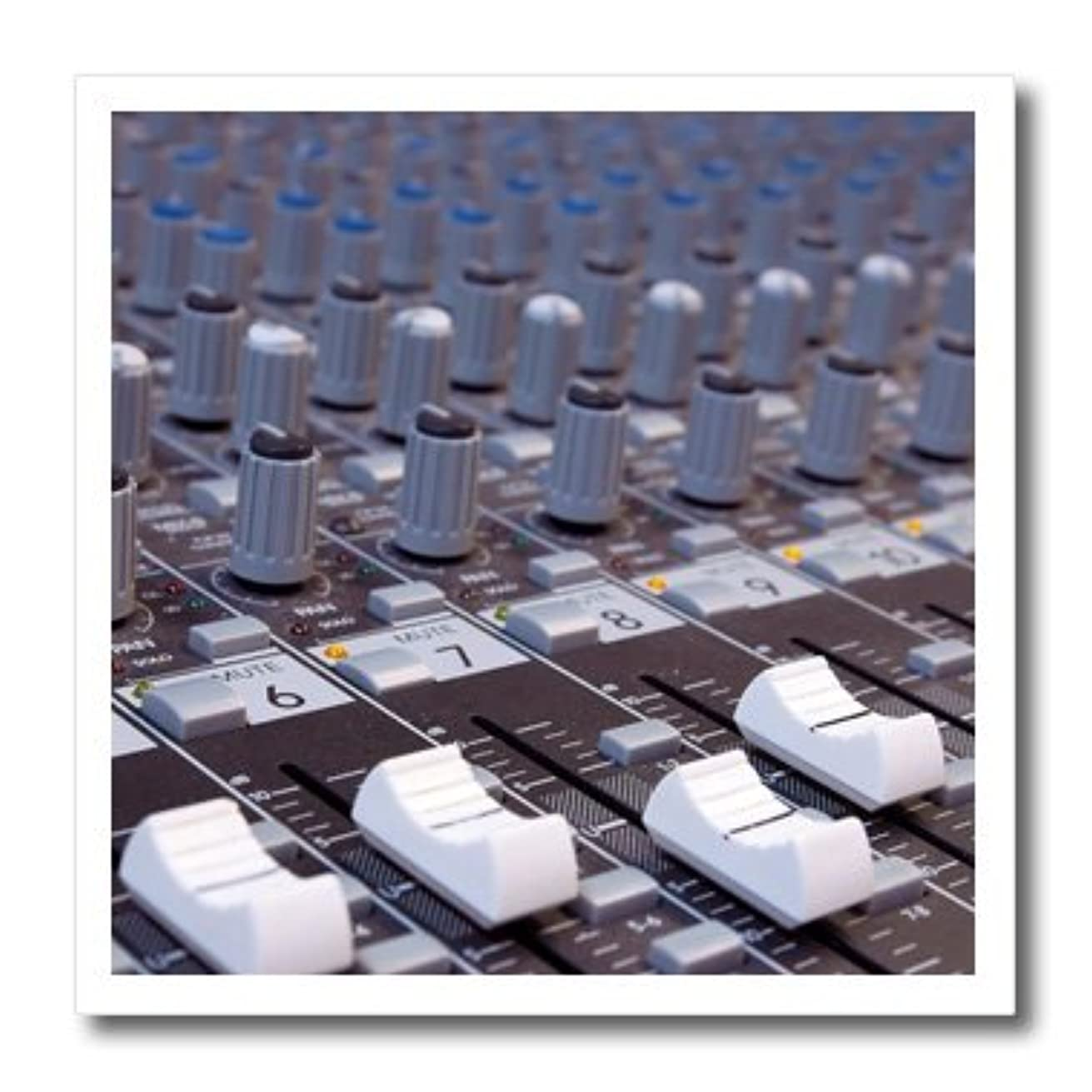 3dRose ht_155066_2 Audio Mixer Board Engineer Knobs Sliders Buttons Studio Recording Iron on Heat Transfer Paper for White Material, 6 by 6-Inch