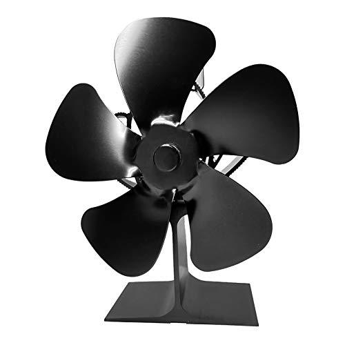 Prom-near 5 Blades Stove Fan Heat Powered Wood/Log Burner Fan Eco Friendly Heat Circulation for Wood/Log Burner/Fireplace