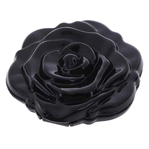 LASISZ Miroir de Maquillage Double Face Miroir de Maquillage Mini Rose Flower Compact Portable Girls Mirror Mirror Cadeau Unique, Noir