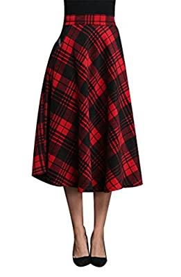 Naughtyspring Women's High Waist A-line Flared Plaid Long Skirt Winter Fall Warm Woollen Skirt
