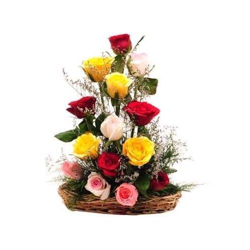 Floralbay Special Basket Arrangement of Mix Roses Fresh Flowers (Bunch of 20)