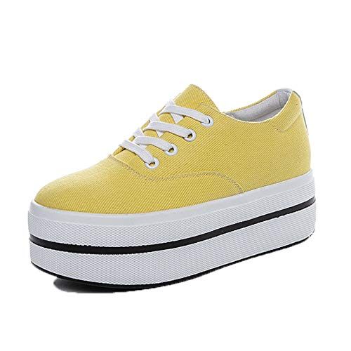 Canvas Ladies Casual Shoes Simple Style Round Toe Lace-Up Thick Sole Daily Walking Solid Color Comfy Women Platform Shoes Yellow