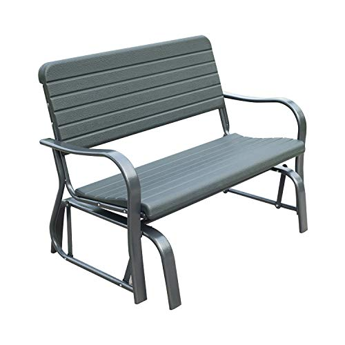 Outsunny Garden Double Glider Bench HDPE Metal 2 Seater Swing Chair Porch Outdoor Patio Rocker