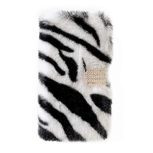 Miagon Plüsch Hülle für Samsung Galaxy S6 Edge,Flip PU Leder Hülle mit Diamant Buckle Kartenfächern Stand Warmer Winter Pelzig Brieftasche Schutzhülle,Zebra Weiß