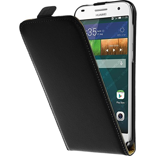 PhoneNatic Kunst-Lederhülle kompatibel mit Huawei Ascend G7 - Flip-Hülle schwarz + 2 Schutzfolien