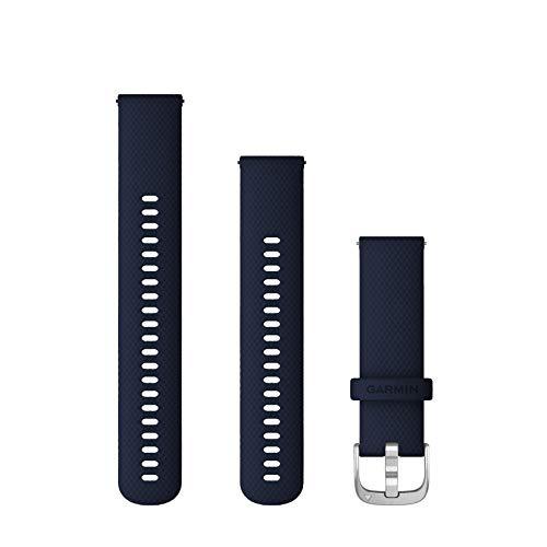 Garmin Snelwisselband (22 mm) – donkerblauw met zilverkleurig beslag