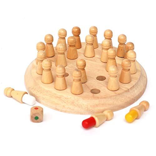 NAYUKY Holz-Rund Memory Match Stick-Schach-Spiel Spielzeug Holz Spielzeug für Kinder Kinder Kinder frühe pädagogische Blöcke Toy Geburtstags-Geschenk