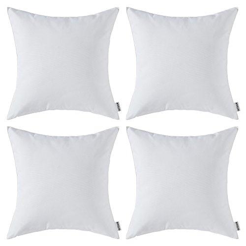 MIULEE Packung von 4 wasserdichte Sofa Kissenbezug Kissenhülle im freien Set Kissen Fall für Sofa Schlafzimmer 18x18 Zoll 45x45 cm Nicht-gerade Weiss
