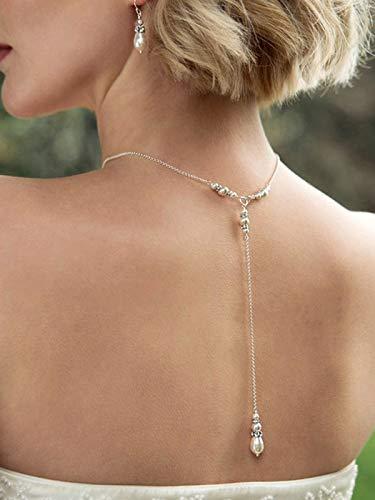 Fashband Collier de dos de mariée avec perles et pendentif en forme de goutte pour femme et fille.