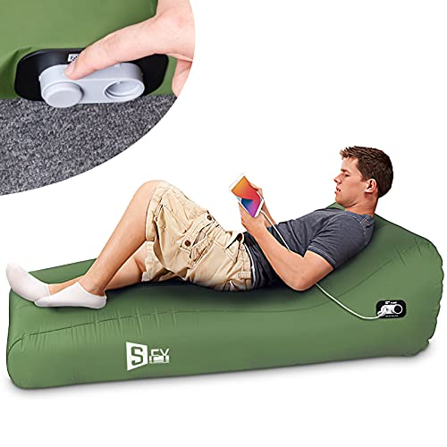 Inflatable Lounger Fully Automatic Inflatable Couch Air Mattress Portable Auto Air Sofa Lazy Chair Sleeping Camping Pad for Outdoor Picnics Hiking Beach Music Festivals Home Camping Travel-Green