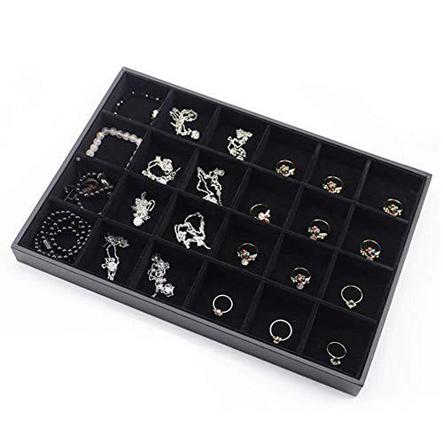 24 Grids Schmuck Display Tray,Samt Vitrine Ring Halter Ohrring Halskette Fall Diamant Vitrine Stein Organizer