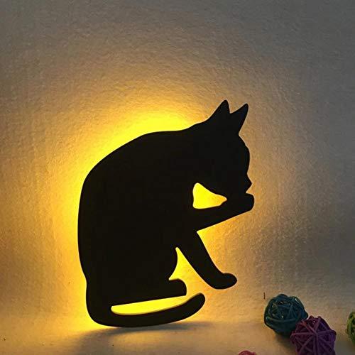 Lámpara de pared de gato Mini Animal de dibujos animados Gato Perro Silueta LED Decoración de dormitorio para niños Sensor de voz + luz Luces nocturnas de emergencia 10126, I