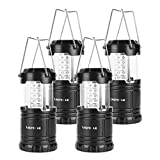 LE Portable Camping Lantern, 30 LED, Battery Operated, Collapsible Water Resistant Outdoor Light for Emergency, Hiking, Fishing, Power Cuts and More, Pack of 4