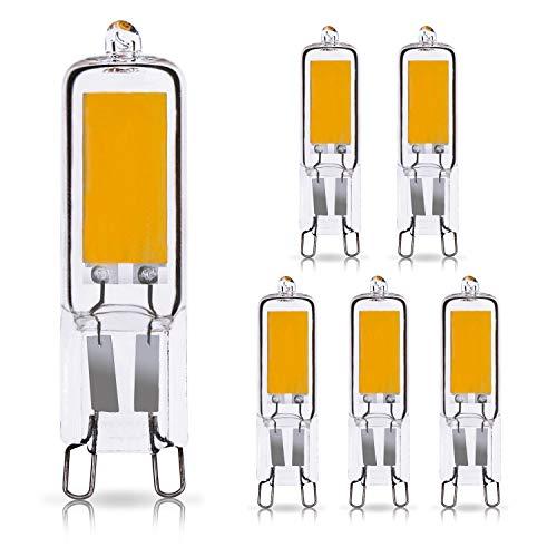 Vicloon G9 LED Lampadina,6 Pack 2W Led G9 Cob,2W Equivalenti a 20W Lampada Alogena,Bianco Caldo 3000K 200LM 200-240V Non Dimmerabile lampadina a risparmio energetico a LED
