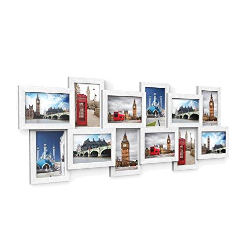 SONGMICS Bilderrahmen Collage für 12 Fotos je 10 x 15 cm Fotorahmen aus MDF-Platten, Montage erforderlich, weiß, mit Holzmaserung RPF22W