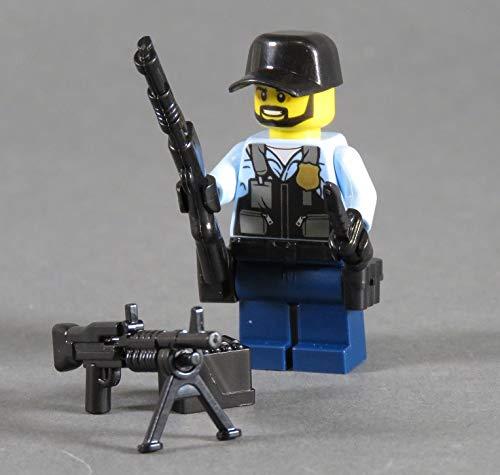 Markenwelt-Voegele Polizei Figur Polizist SWAT aus Lego ® und Custom Teilen mit Zubehör Cap