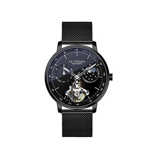 Armbanduhr,Mode Hohle Mechanische Uhr 3-Pin Astrologische Uhr, Schwarzes Gehäuse Schwarzes Gesicht