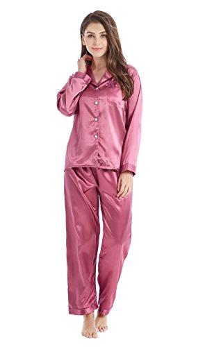 Tony & Candice Damen Schlafanzüge Lang Satin Lang Pyjama Set Nachtwäsche (S, Hell Burgund)