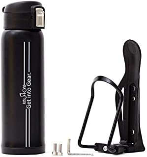 R.M.Stone Bike Bottles Holder with Insulated Water Bottle: 16Oz Hot & Cold Thermos, 1-Hand Operation + Hardware Adjustable Cage + Hydration eBook Made Drinking While Cycling Easy. Extended Guarantee