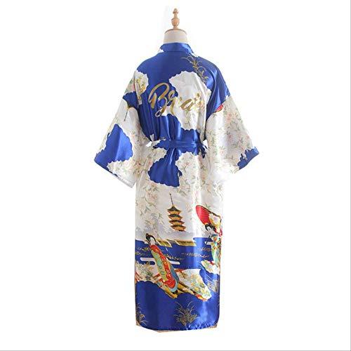 XFLOWR Ladies 'Silk Long Beauty figuur bruiloft bruid dragen simulatie satijn dressing popeline nacht robe kimono nachtkleding nachtkleding nachtkleding one size sieraden blauw