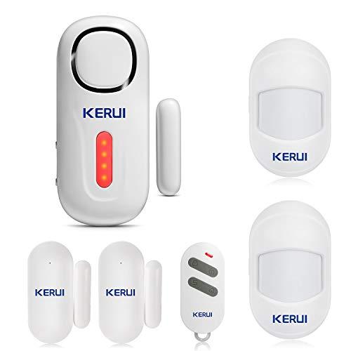 KERUI D2 Alarma de Puerta y Ventana, Kit Alarma Casa Antirrobo Inalámbrico con Sensor/Detector Movimiento con Sonido 125 dB y Luz Brillante, Alarma de Seguridad para Hogar/Tienda/Autocaravana/Niño