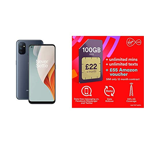OnePlus N100 4G 4GB RAM and 64GB Storage UK SIM-Free Smartphone with Triple Camera, Dual SIM and 5000 mAh Battery - Midnight Frost - 2 Year Warranty with Exertis Virgin Sim