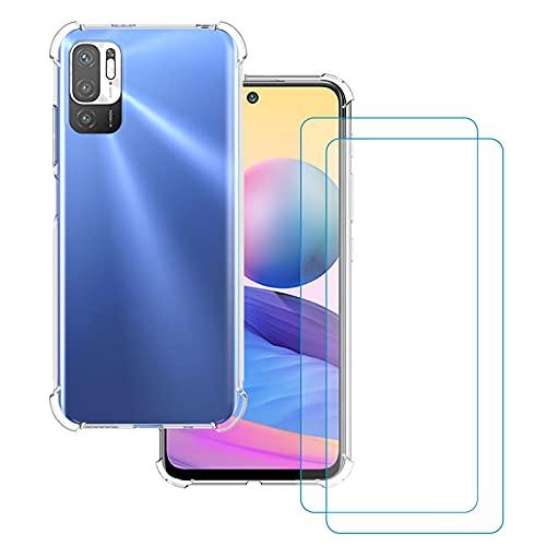 KZIOACSH Funda para XiaomiRedmiNote105G[Non para 4G]/ Poco M3 Pro 5G + [2 Pack] Cristal Templado,Ultra Fina Silicona TPU Carcasa,Cuatro Esquinas Anti-caíd Protección,Transparente