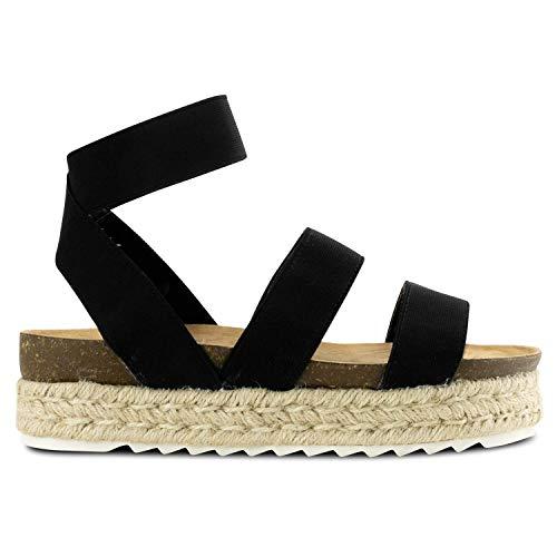 Womens Casual Slide On Espadrille Platform Sandals Comfort Ankle Elastic Strap Flatform Wedge Sandals (9 M US, Black)