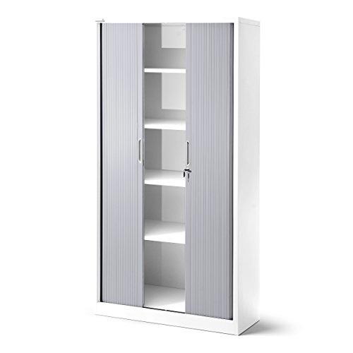 Armario de persiana T001, armario universal para archivadores, para despacho, armario con persiana transversal, con puertas correderas, con cerradura, 185cm x 90cm x 45cm (blanco/gris)
