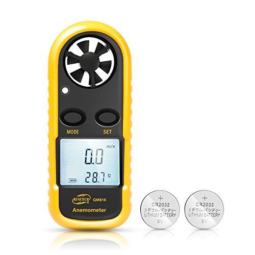 husdow Wind Anemometer Thermometer Digital-Messgerät LCD-Anzeige Geschwindigkeit Luft mit Hintergrundbeleuchtung für Kerze, Lenkdrachen, Surf, Marina, fangen, etc